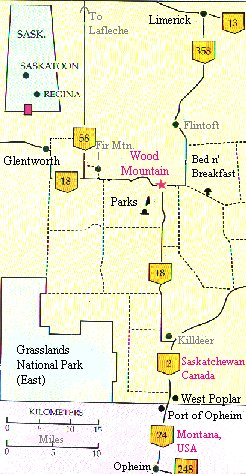 this is a map of our region the red coat trail highway 13 runs through limerick to the north of us iniboia is 15 minutes east of limerick and lafleche